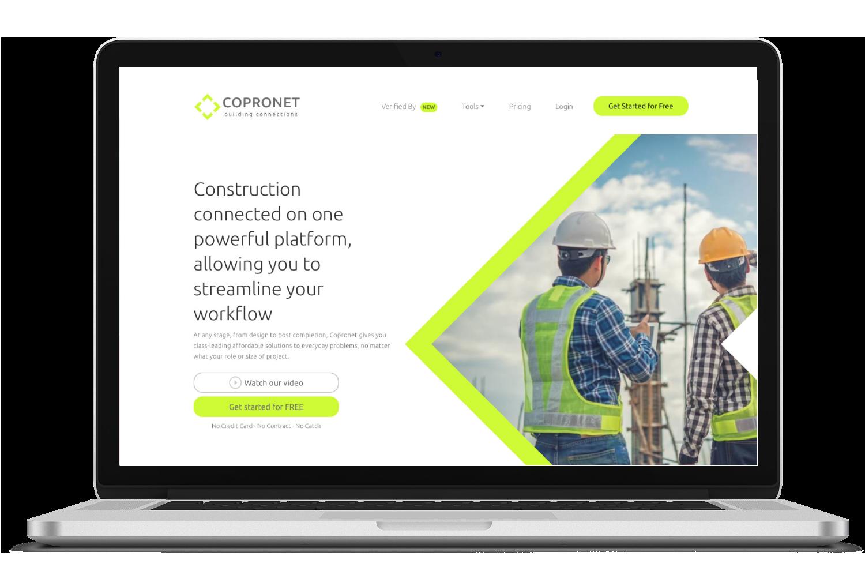 Copronet Construction macbook website view