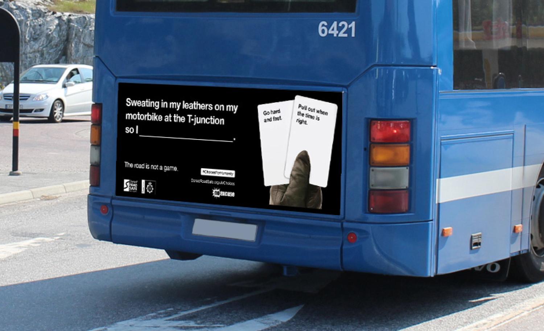 Dorset Road Safe Poster Back Of Bus