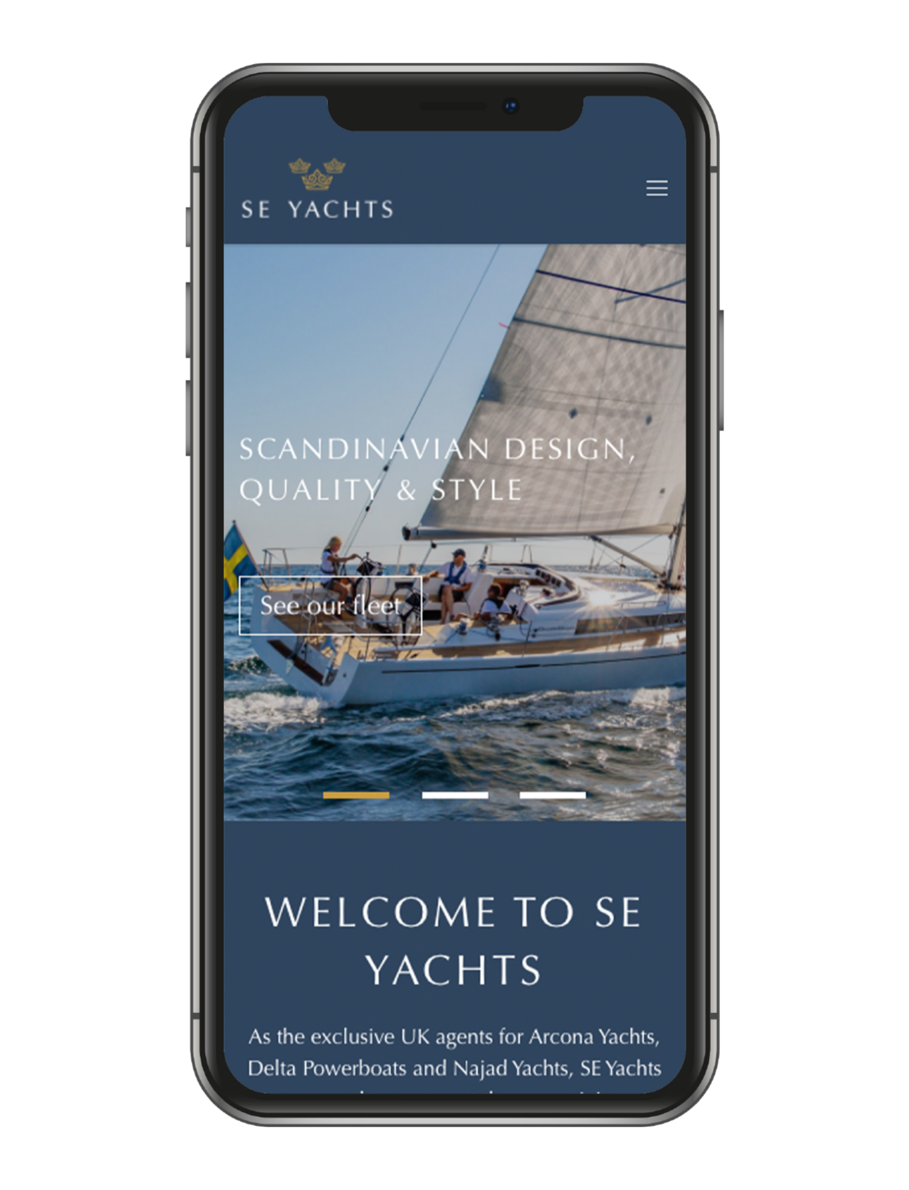 SE YACHTS homepage mobile view