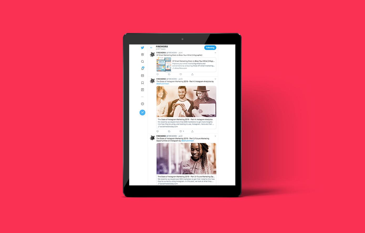 Fireworx Social Media Twitter Service iPad screen